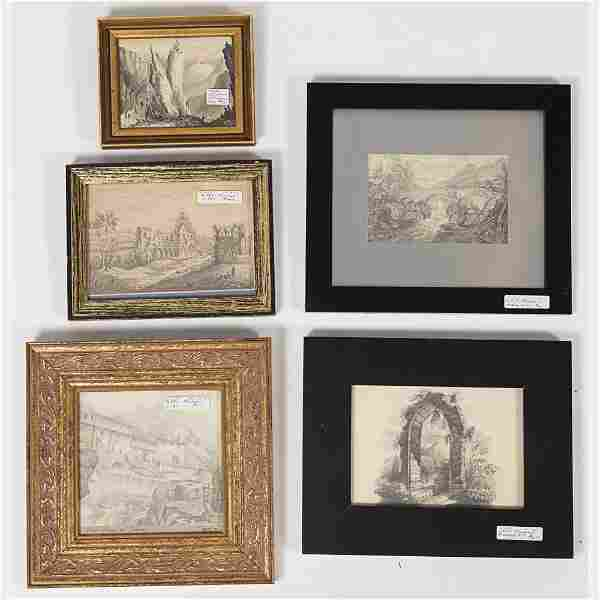 A Miscellaneous Collection of Framed Pencil and Pen/Ink