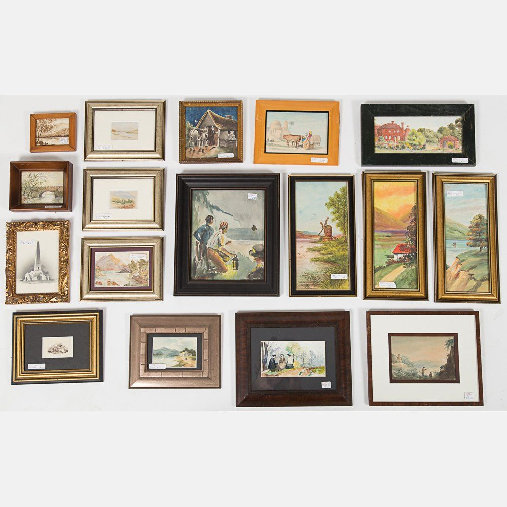 A Miscellaneous Collection of Framed Watercolor, Pencil