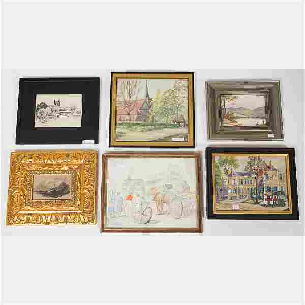 A Miscellaneous Collection of Watercolor Paintings by