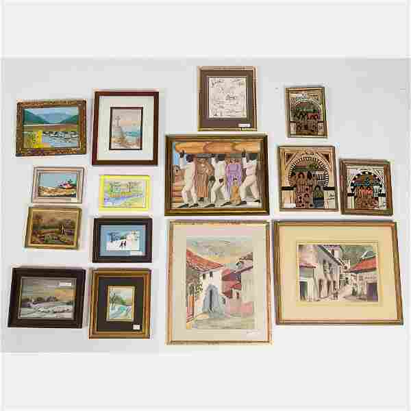 A Miscellaneous Collection of Framed Watercolor and Oil