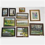 A Miscellaneous Collection of Framed Oil Paintings by