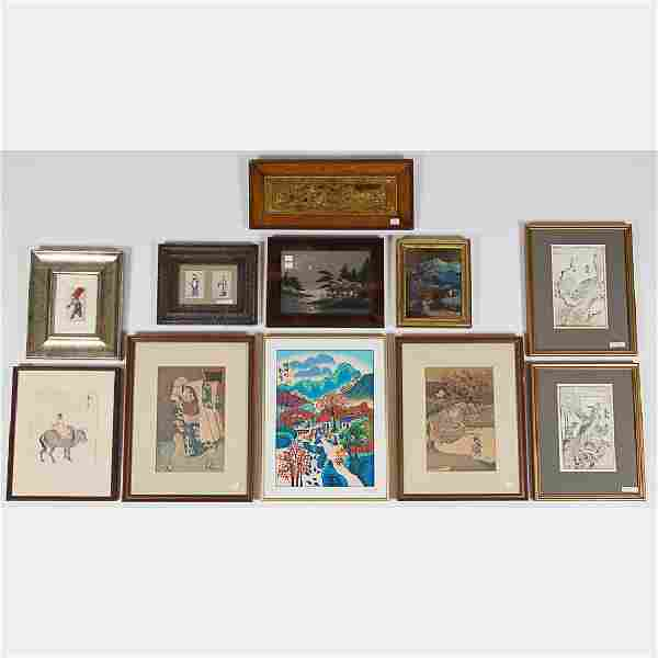 A Miscellaneous Collection of Asian Framed Decorative