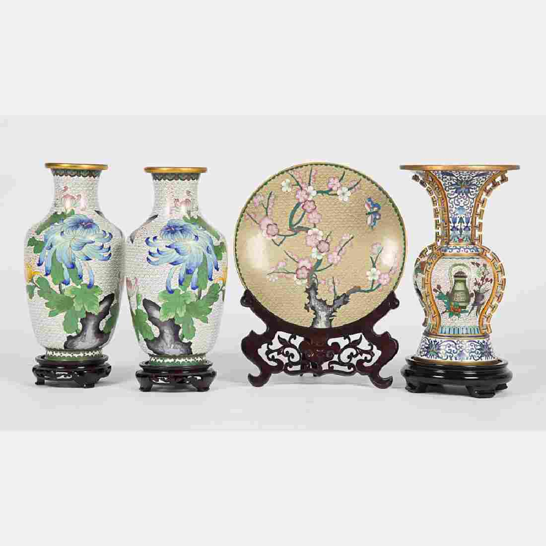 A Group of Chinese Cloisonné Decorative Items, 20th