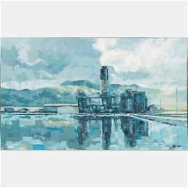 E. Balogh (20th Century) Industrial Landscape, Oil on