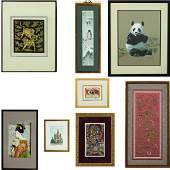 A Group of Chinese Framed Decorative Items by Various