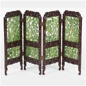 A Chinese Four Panel Jade and Elm Table Screen 20th