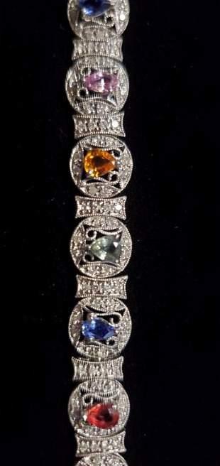 Superb Estate 14K Sapphire, Diamond, Bracelet #19