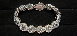 Estate Aquamarine,Tanzanite,Diamond Bracelet #21