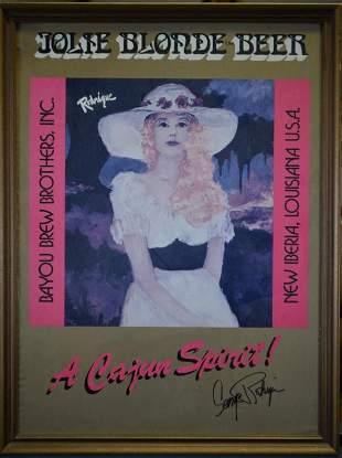 RARE Signed George Rodrigue Jolie Blonde Beer