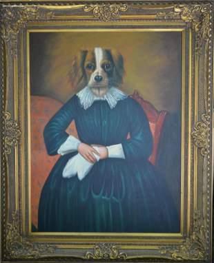 """Huge Original """"Doggie in a Blue Dress"""" 50 x 62"""