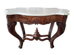 Antique Rococo Revival Marble Top Center Table