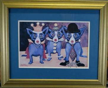 RARE George Rodrigue 3 Blue Dog Litho, Signed!