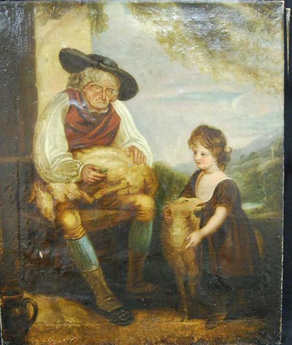 20: ELDER MAN SHEARING SHEEP OIL ON CANVAS PAINTING