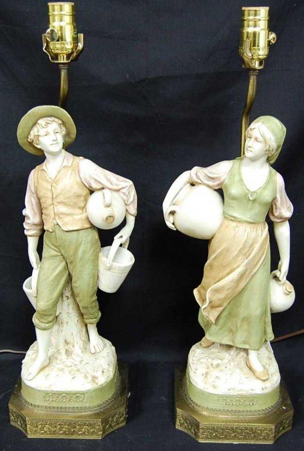 11: PAIR OF ROYAL DUX FIGURAL LAMPS