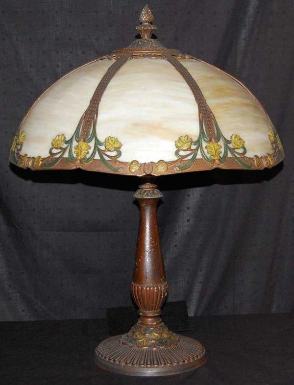 9: SIGNED RAINAUD CURVED SLAG GLASS PARLOR LAMP