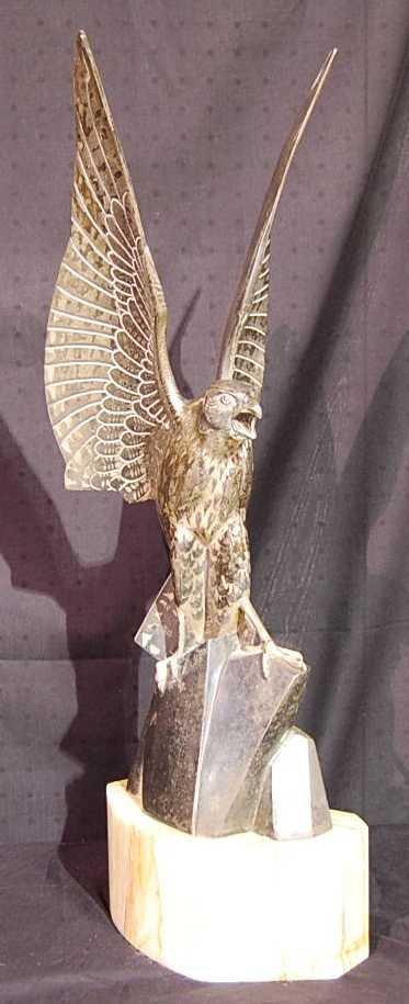13: SIGNED RISCHMANN SCULPTURE OF HAWK