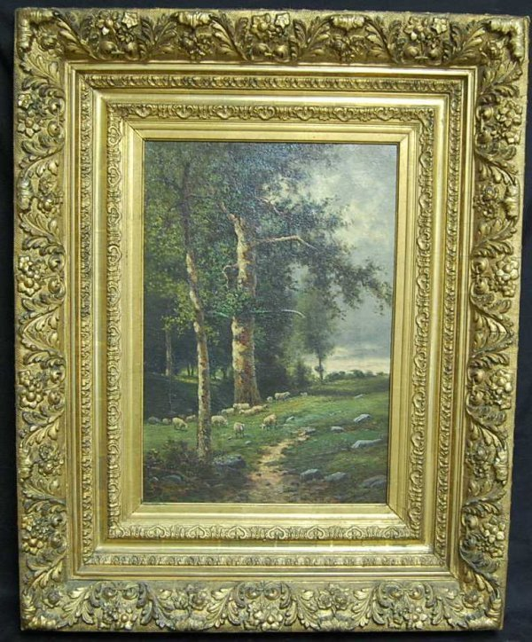 10: G SMITH OIL ON CANVAS SHEEP IN FIELD PAINTING
