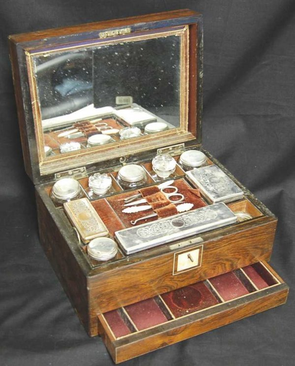 21: ROSEWOOD DRESSING BOX WITH SILVER FITTED INTERIOR