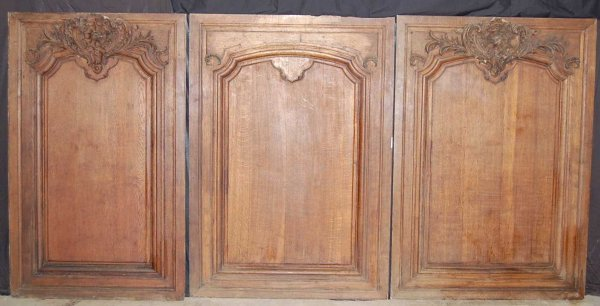 108: SET OF THREE FRENCH CARVED OAK WALL PANELS