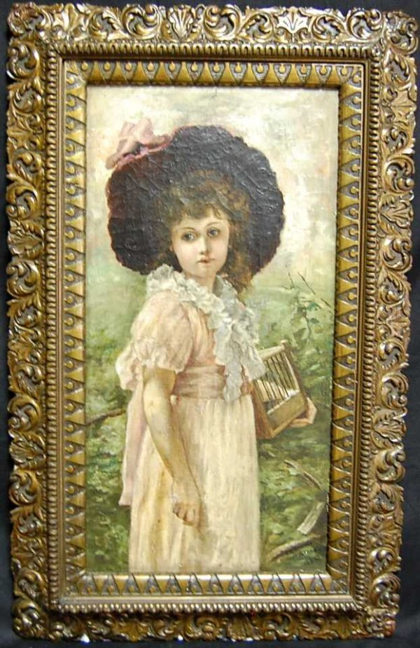 15: MARCUS C STONE PAINTING OF GIRL WITH BIRDCAGE