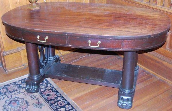 4: OVAL EMPIRE MAHOGANY LIBRARY TABLE