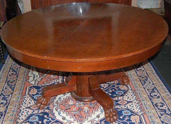 12: ROUND MAHOGANY CLAW FOOT DINING TABLE