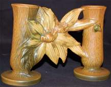 """94: ROSEVILLE CLEMATIS BROWN DOUBLE BUD VASE #194-5"""""""