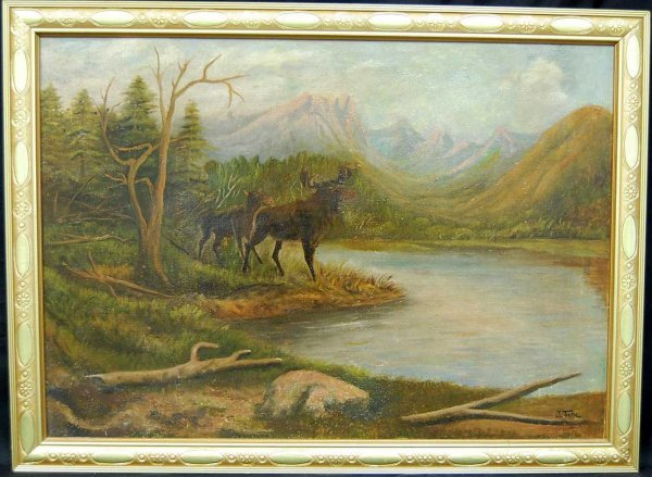 5: JOHN FERY STAG OIL ON CANVAS PAINTING