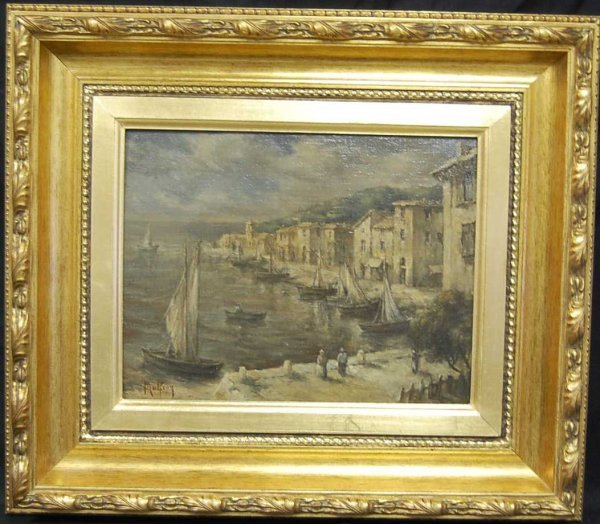 15: CHARLES MALFROY BOATS IN HARBOR PAINTING