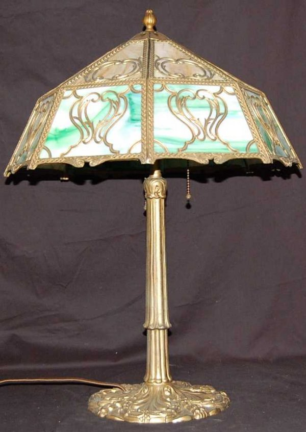 17: TURN OF THE CENTURY SLAG GLASS PARLOR LAMP