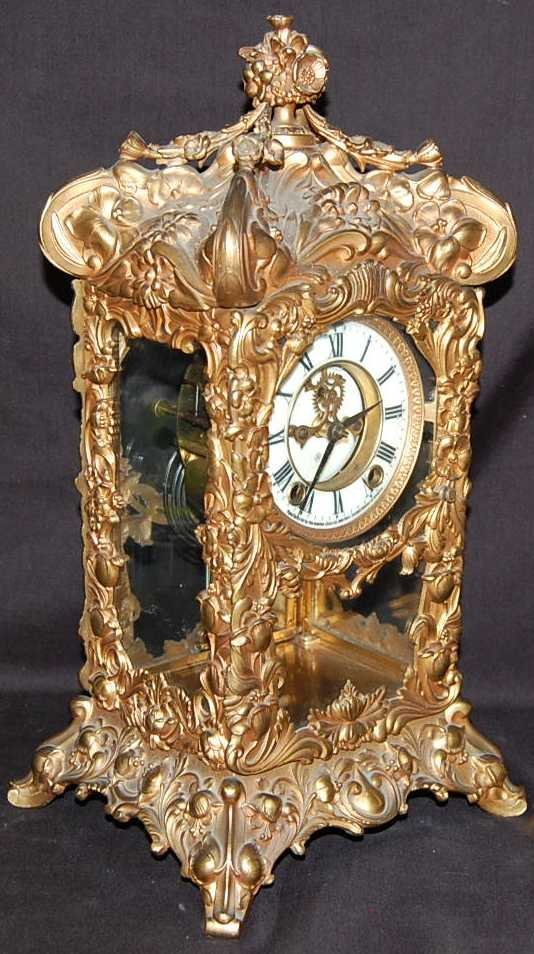 39: FABULOUS ANSONIA GILT MANTLE CLOCK