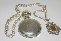 121 WALTHAM COIN SILVER POCKET WATCH CHAIN  FOB