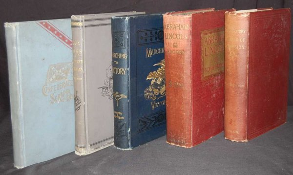 21: GROUP OF 5 CIVIL WAR BOOKS FROM THE 1800'S