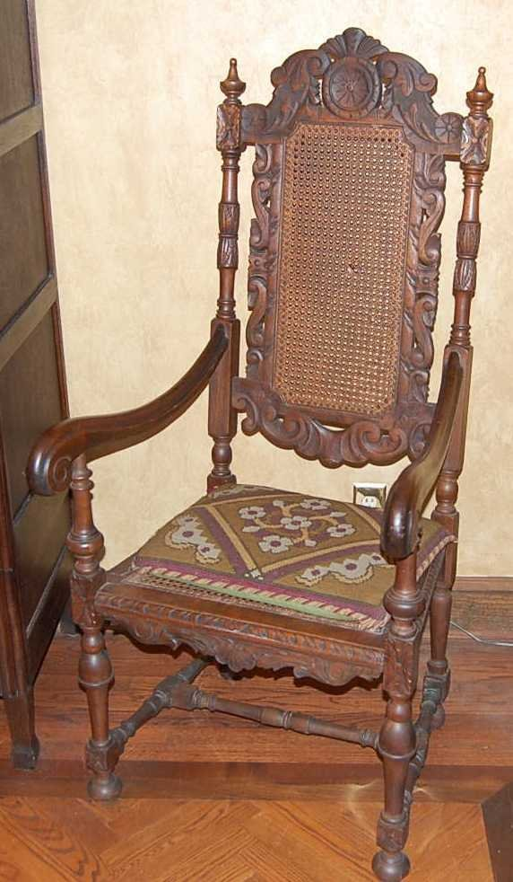 14: CARVED OAK RENAISANCE ARM CHAIR