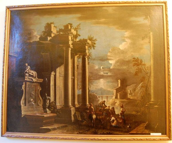 75: NEAPOLITAN SCHOOL LATE 18TH CENTURY RUINS PAINTING