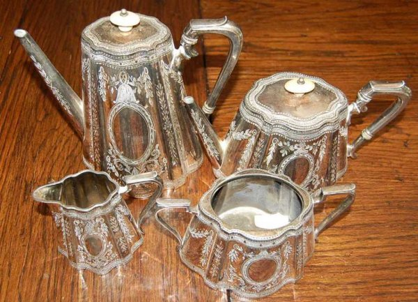 1: FOUR PIECE ENGLISH SILVER PLATE TEA & COFFEE SERVICE