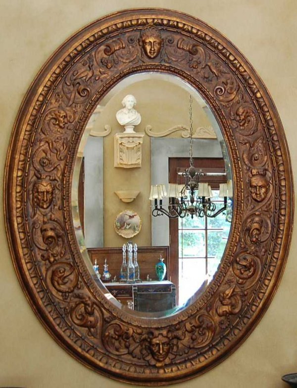 18: OVAL BEVELED GLASS DESIGNER MIRROR