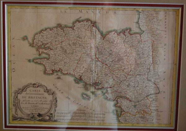 21: M. BONNE MAP OF BRITTANY, PROVINCE IN FRANCE