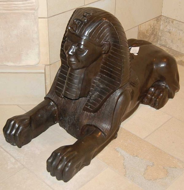 14: Pair of lifesize bronze Sphinx figures