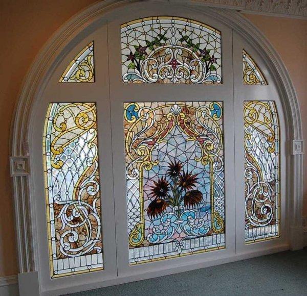 40: Superb American stain leaded glass landing window
