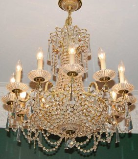 Gilt Brass & Crystal 12 Light Chandelier