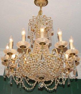 7: Gilt Brass & Crystal 12 Light Chandelier