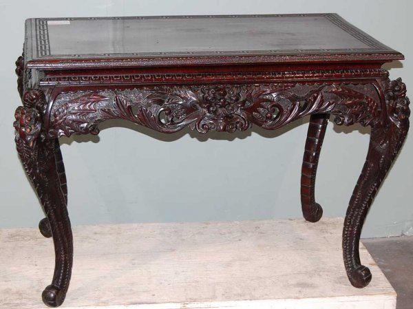 4: Hand Carved Oriental Writing Desk