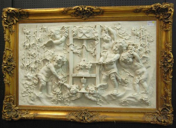 14: Large Faux Marble Bachus Babies Wall Plaque