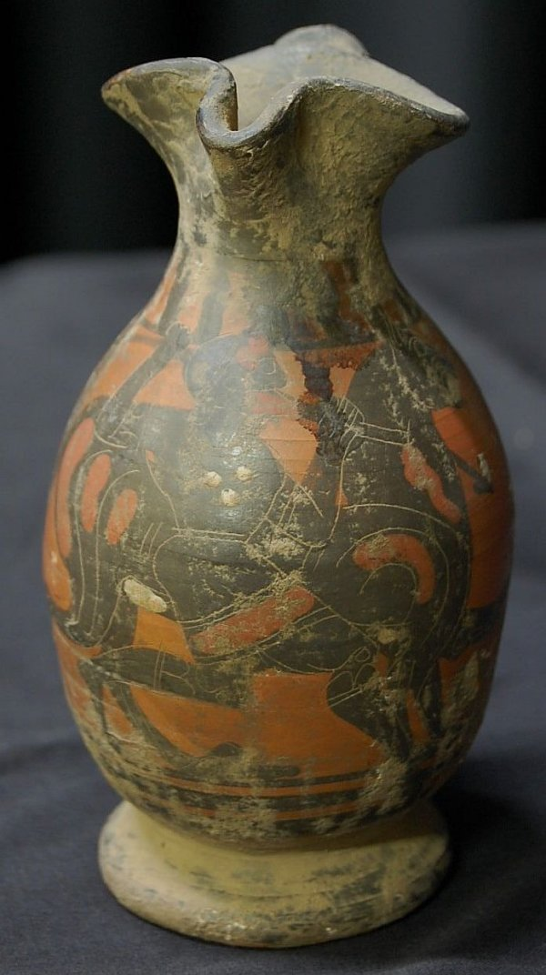 2: Greek Oinochoe Shaped Pottery Vermillion Jar