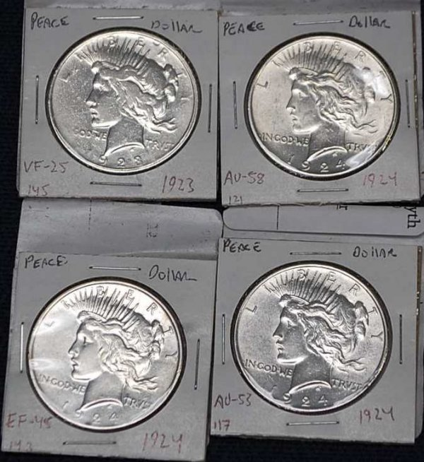 10: Four American Silver Peace Dollars