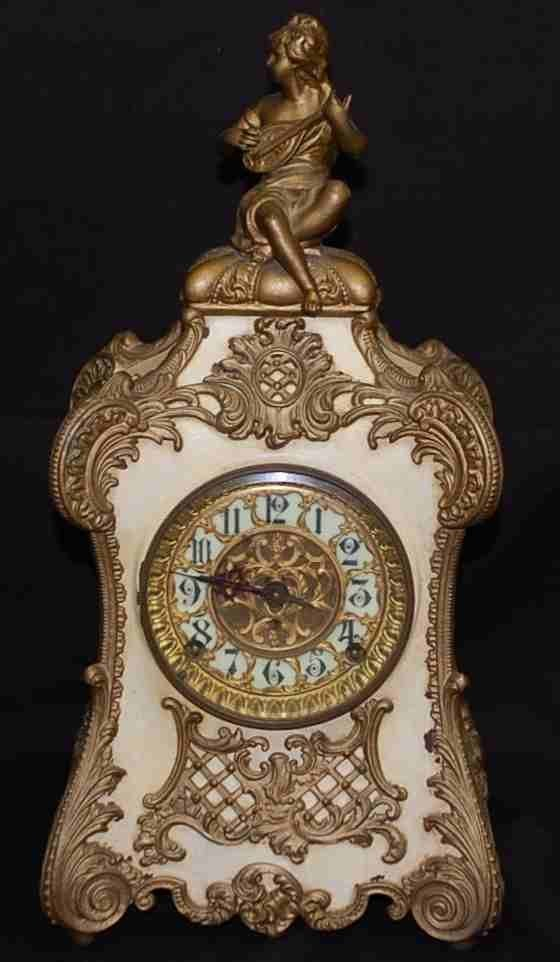 9: French Style Figural Mantle Clock