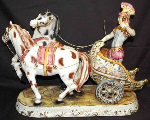 17: Signed Capo DiMonte Horse Drawn Chariot