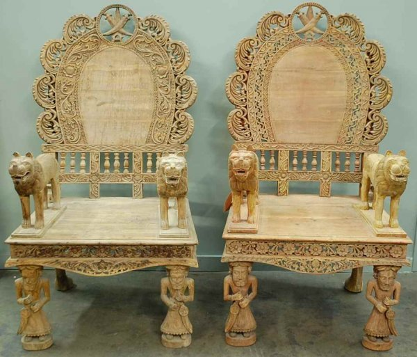 2: Pair of Carved Morrocan Style Throne Chairs