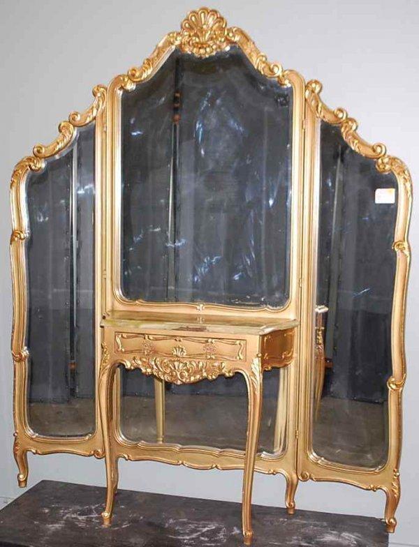 4: Italian Gilt Triple Cheval Dressing Mirror